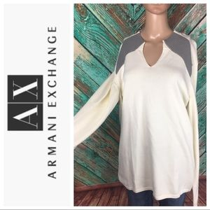 Armani Exchange Cotton Blend Ribbed Sweater